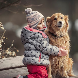 Friendship by Michael Eberth - Babies & Children Children Candids ( friendship, candid, puppy, dogs, animal, winter, animals, girl, portrait, dog, puppies, pet )
