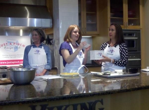 Leah preparing her prize winning recipe