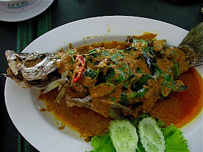 Photo: crispy fried fish topped with choo choo curry sauce (choo chee bplah gkapong tawd)