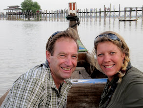 Photo: Year 2 Day 55 - Us on the Boat for our Sunset Ride on Taungthaman Lake