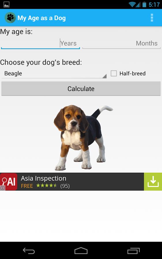 Kennel Club Dog Age Calculator