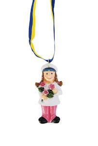 Studenthalsband, tjej med blomma