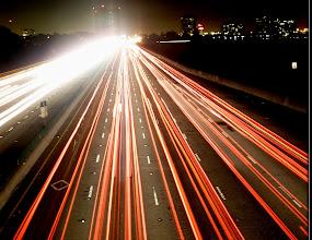 Photo: Freeway from Berkeley Pedestrian Overpass 5 a.m., time exposure