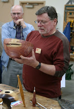 Photo: Richard Webster shows his use of Inlace in a cedar bowl.