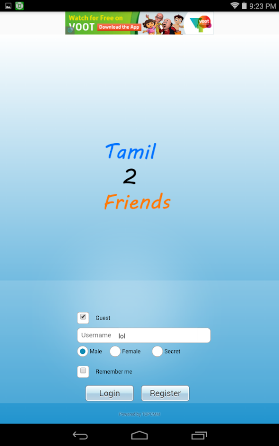 Tamil Chat Room(tamil2friends)- screenshot