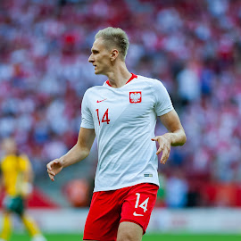Lukasz Teodorczyk by Paweł Mielko - Sports & Fitness Soccer/Association football ( national team, soccer, sports, teodorczyk, poland, lukasz teodorczyk, football, sport photography, bokeh, stadium, action, man, polish, sport, player,  )