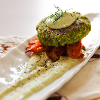 Shiitake Green Garbanzo Patties with Herbed Aioli over Roasted Carrots.