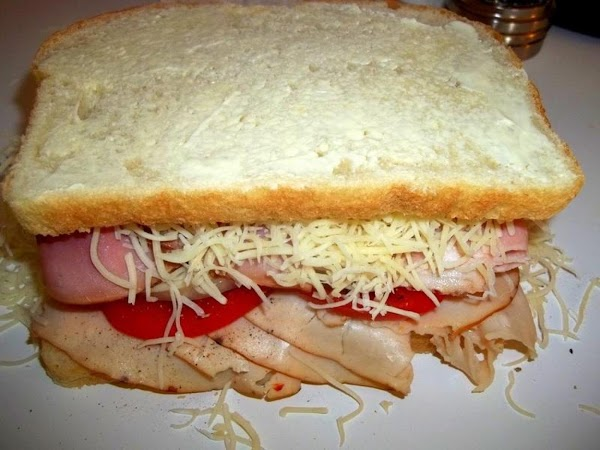 Top with Swiss cheese ( I used shredded ) and other slice of bread,...