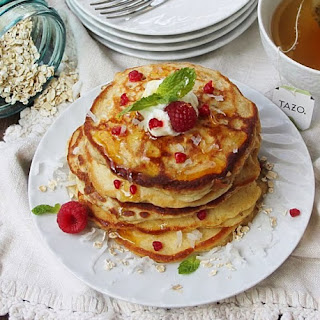 Raspberry Yogurt Pancakes with Oatmeal and Spelt