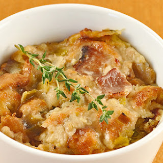 Savory Bacon, Leek and Thyme Bread Pudding.