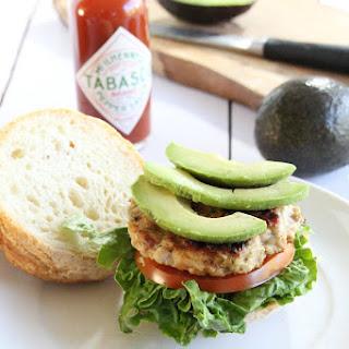 Bacon Avocado Ranch Chicken Burgers with TABASCO® Sauce.
