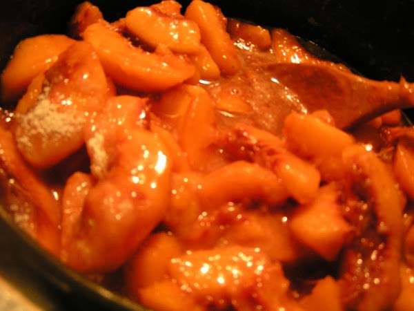 In a med/large pot, combine sliced peaches, brown sugar splenda, splenda, and butter. Bring...