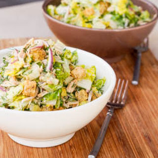 Crispy Romaine Salad with Chicken and Croutons {Gluten-Free, Dairy-Free}.