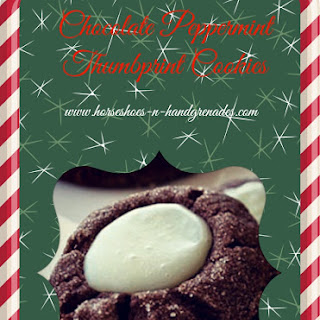 Chocolate Peppermint Thumbprint Cookies.