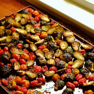 (Welcome New Twitter Followers!) Oven Roasted Brussels Sprouts with Grape Tomatoes.