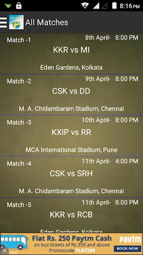 Schedule IPL 2015