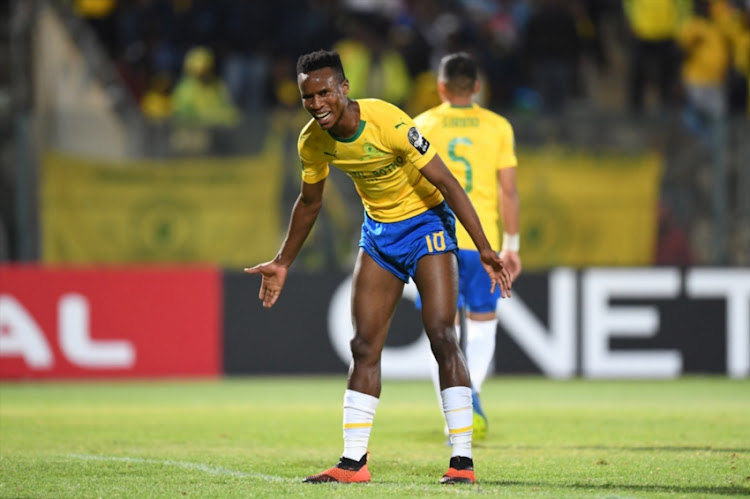 Themba Zwane of Mamelodi Sundowns during the CAF Champions League match between Mamelodi Sundowns and Horoya AC at Lucas Moripe Stadium on August 28, 2018 in Pretoria, South Africa.