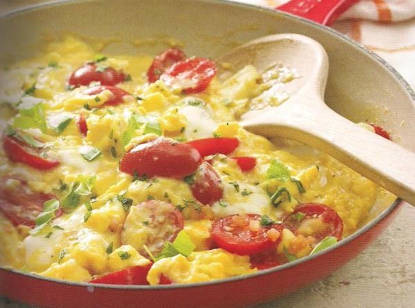 Tomato And Basil Scramble With Fresh Mozzarella Recipe