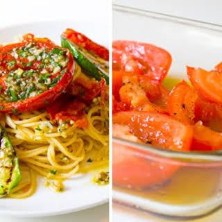 Spaghetti all'Aglio e Olio with Marinated Summer Vegetables.