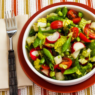 Crunchy Chopped Salad with Sugar Snap Peas, Jicama, Radishes, Tomatoes, and Green Garbanzo Beans