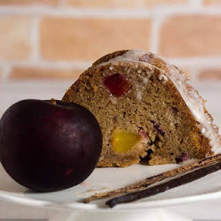 Vanilla Bean Bourbon Plum Bundt Cake.