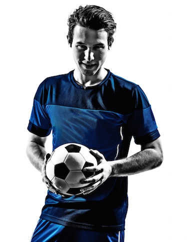 Image of soccer player holding a ball