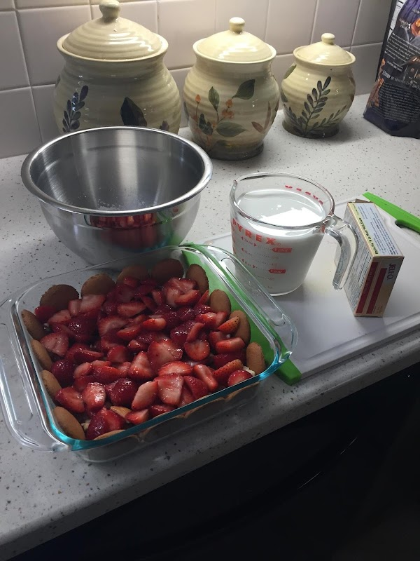 Cut strawberries into pieces and sprinkle with sugar. Let strawberries set for 10 minutes...