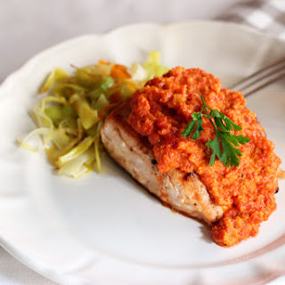 Salmon with Grilled Red Pepper Sauce