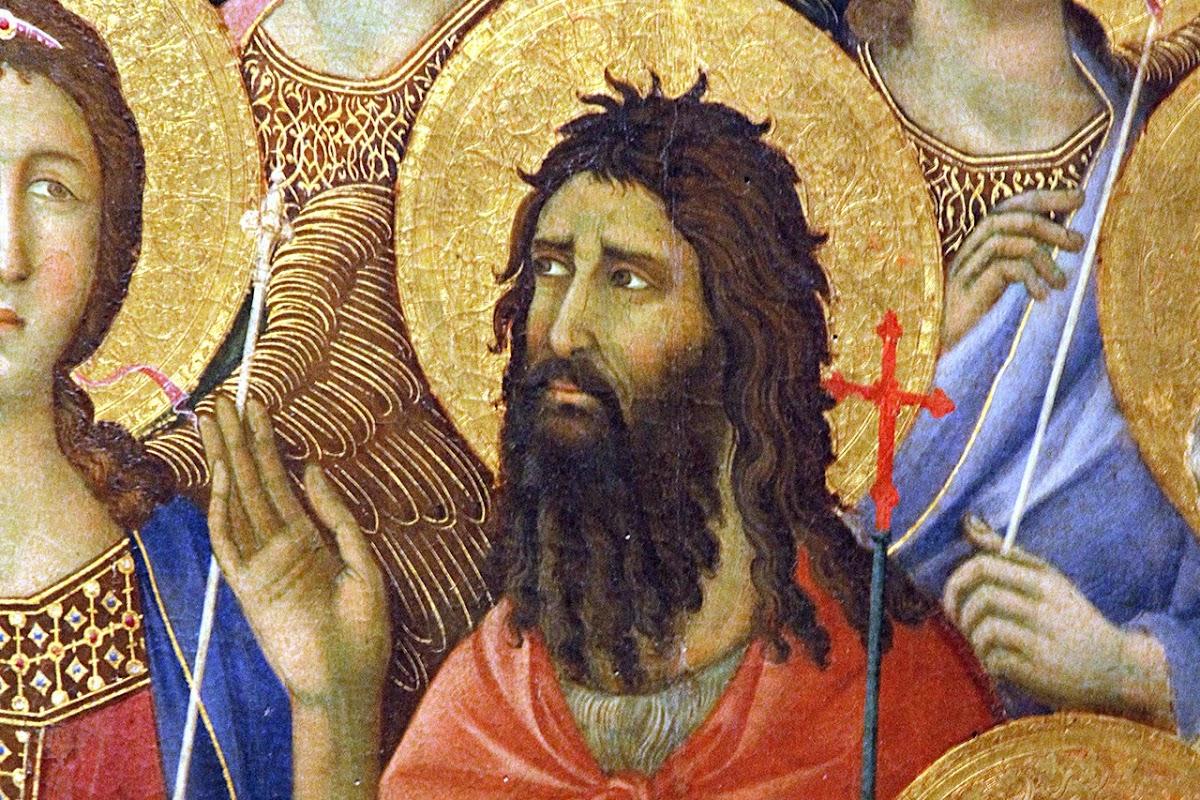 Duccio di Boninsegna, Maestà del Duomo di Siena (1308-1311) Il lato delleStorie della Passione, (particolare San Giovanni Battista)