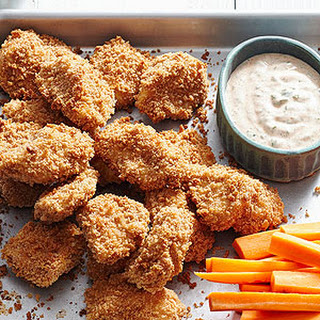 Low-Cal Crispy Chicken Nuggets with Cilantro Ranch Dressing
