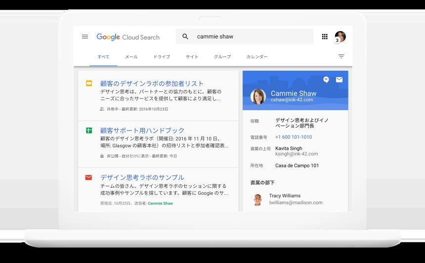 G Suite サービス全体を横断的に検索