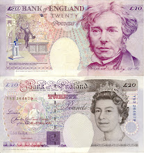 Photo: Michael Faraday, 20 British Pounds (1993). This note is still legal currency although it is out of print.