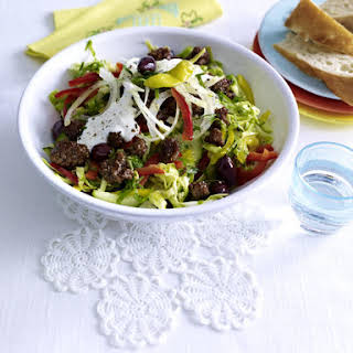 Greek Cabbage Salad with Ground Beef and Yogurt Dressing.