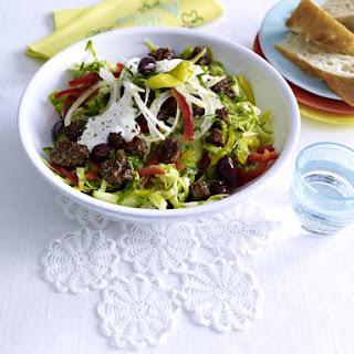 Greek Cabbage Salad with Ground Beef and Yogurt Dressing.