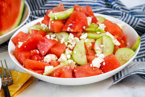 A Bowl Of Watermelon Summer Salad.