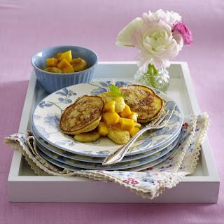 Rice Pudding Pancakes with Caramelized Banana and Mango
