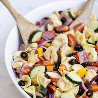 Easy tortellini Italian pasta salad.