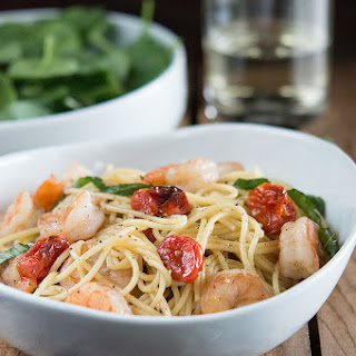 Shrimp and Roasted Tomato Pasta with Garlic Wine Sauce.