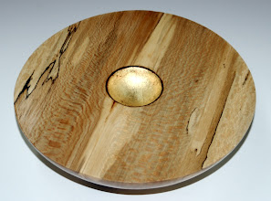 "Photo: Ed Karch - spalted American sycamore (quarter sawn) bowl with gold leaf - 7.5""x2"""