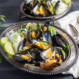 Mussels With Thai Red Curry Broth and Rice Noodles.
