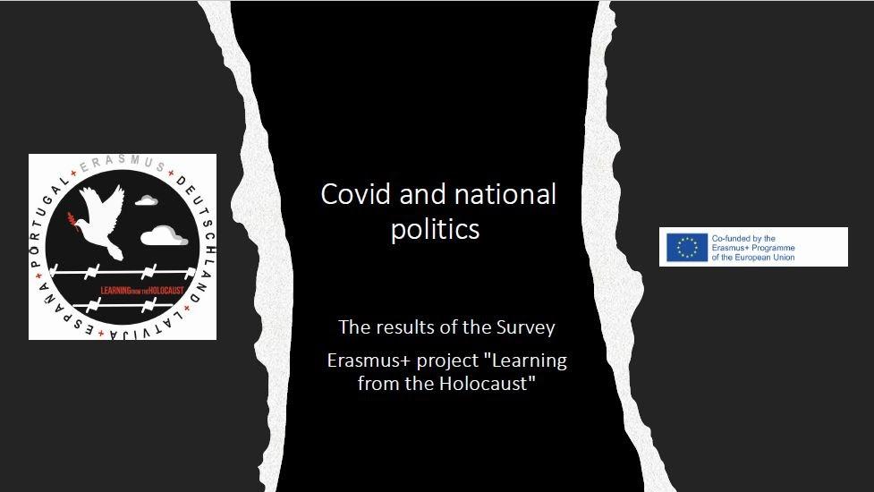 """Aptaujas prezentācijas 1.slaids """"Covid and national politics"""""""