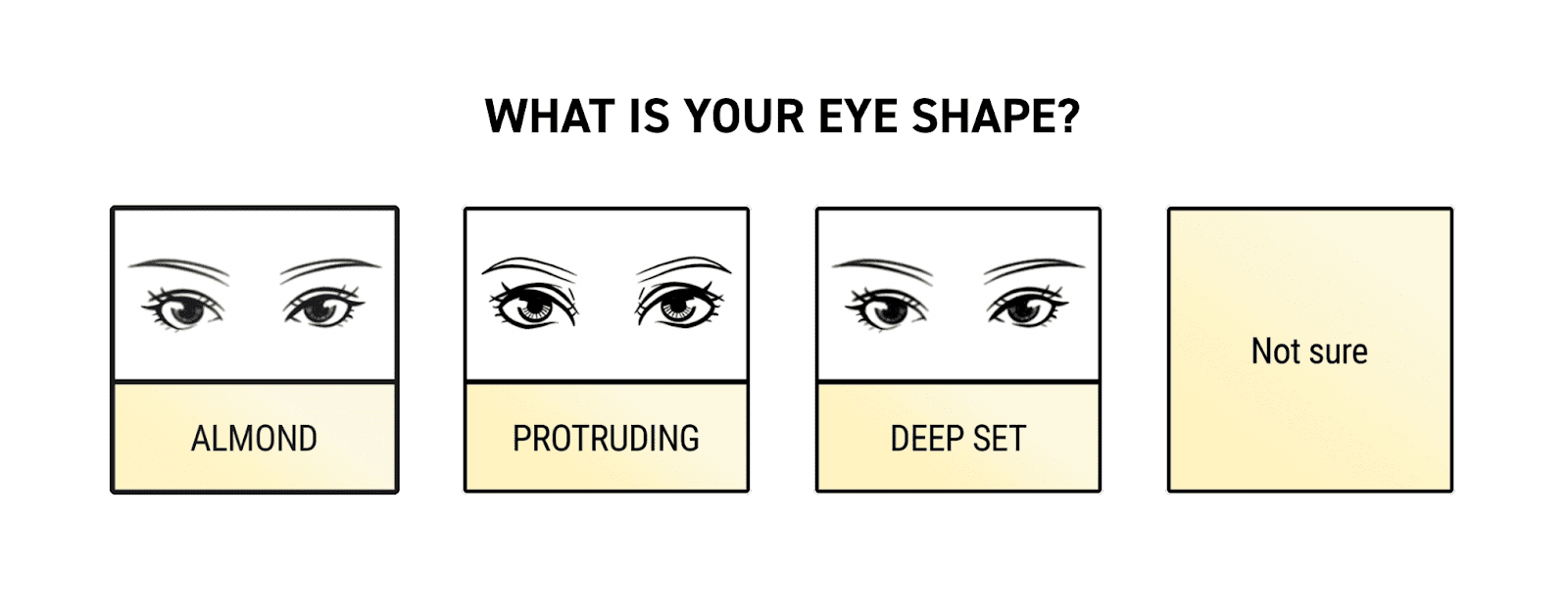 Screenshot of Doe Lashes' quiz asking about eye shape