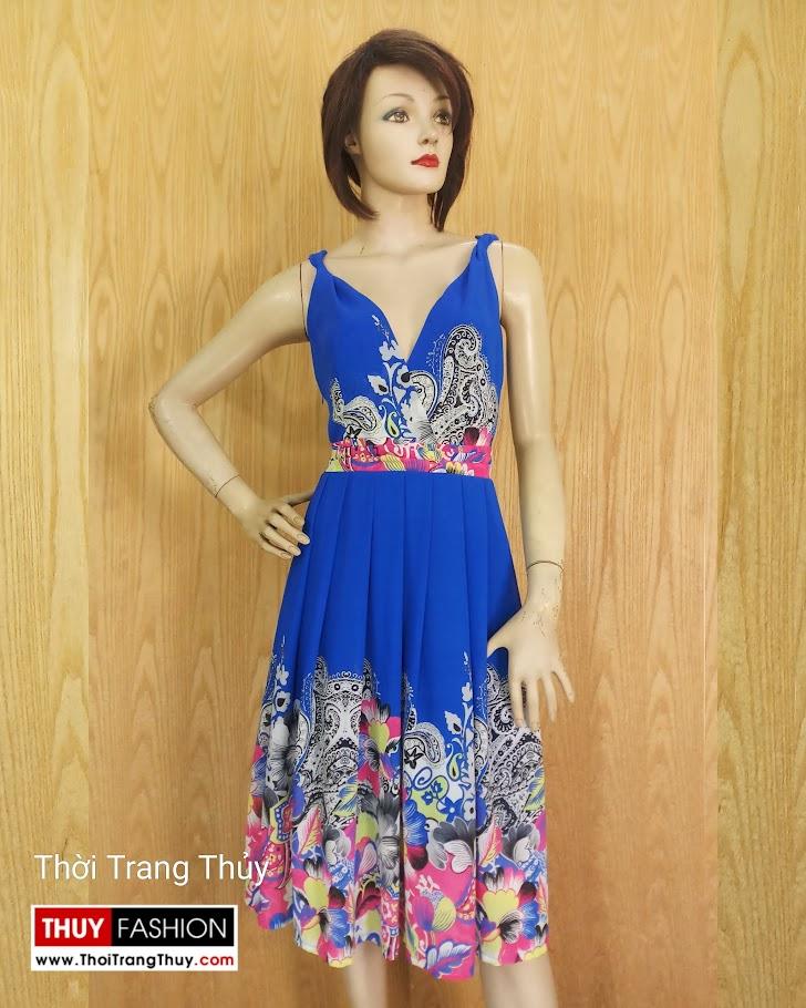 Váy xoè cổ chữ V vạt chéo hoạ tiết hoa V689 thời trang thuỷ sài gòn