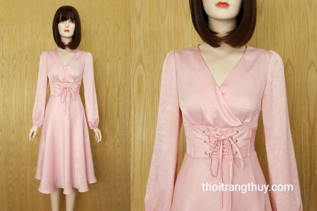 Váy midi dự tiệc buộc dây eo vải Lụa hồng V588 Thời Trang Thủy
