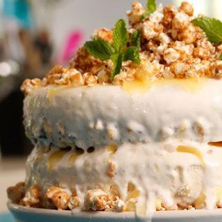 Caramel Popcorn Ice Cream Cake.
