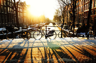 Photo: Bicycles at dusk