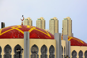 Photo: Year 2 Day 107 -  Roof of Mosque in Tanjung Bungah  with Skyscraper Background