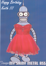 Photo: Maria's (gender-)Bender is looking for Dance-Bot 5000, the next name on his dance card.