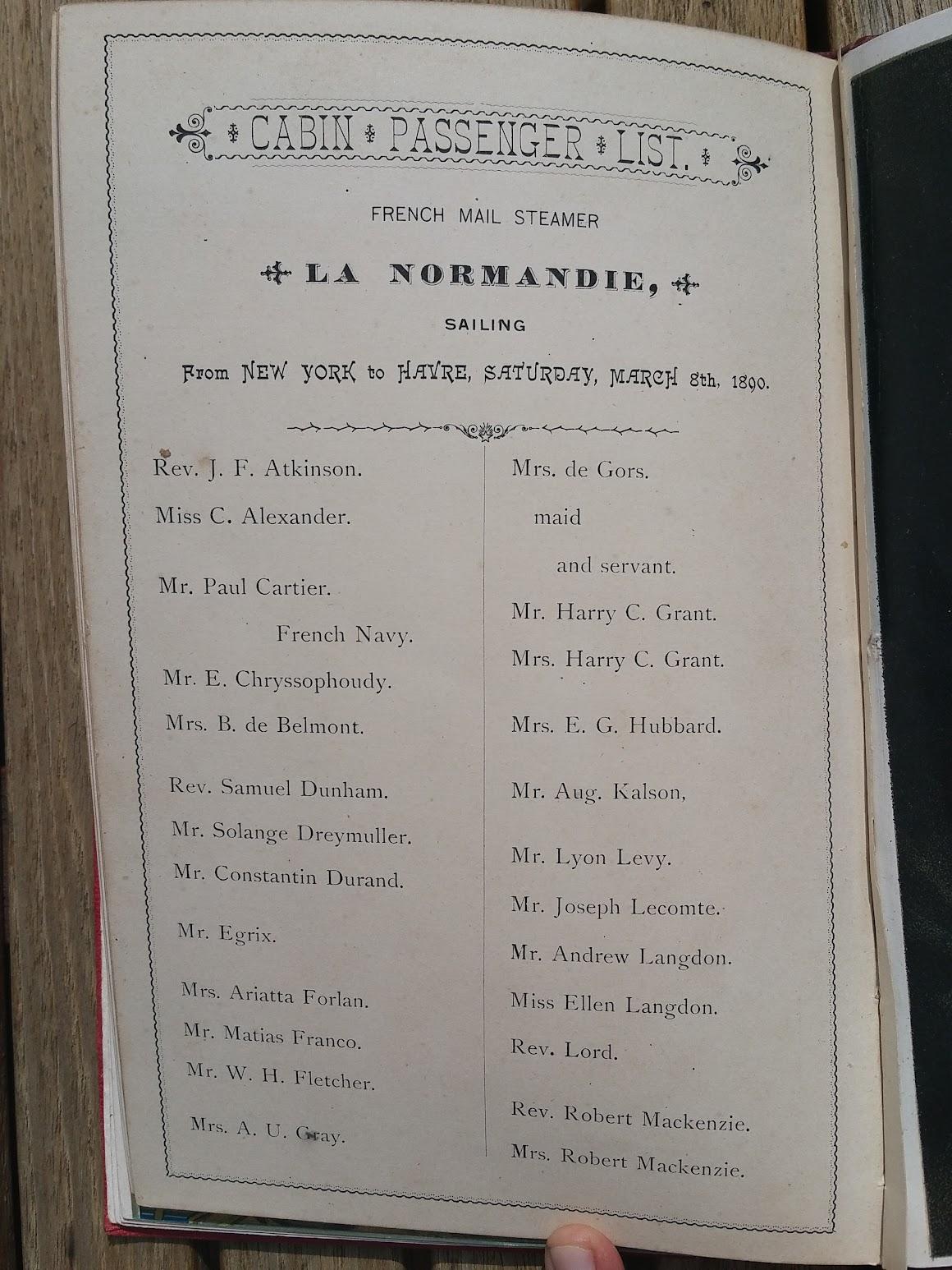 Compagnie Generale Transatlantique, New York - Le Havre - Paris, Passagierliste 1890 - La Normandie
