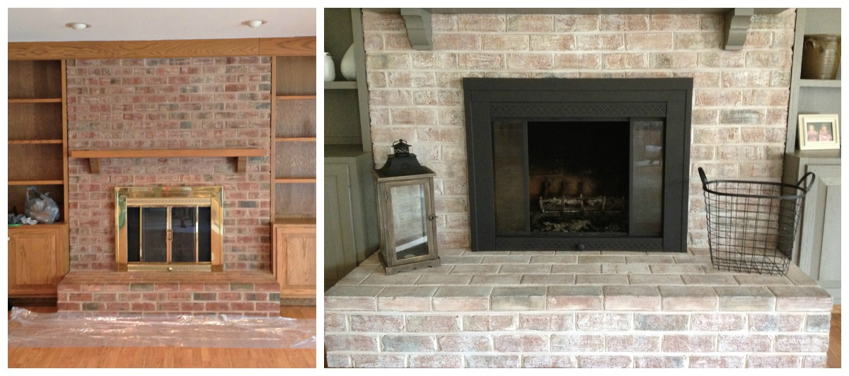 Before and after natural stone fireplace project